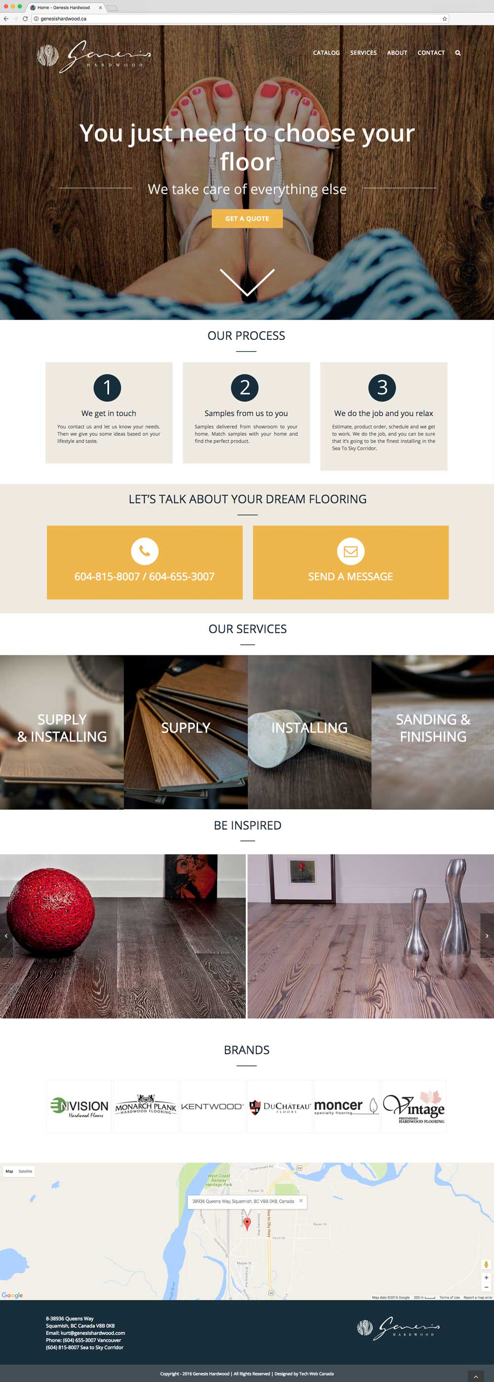 Genesis Hardwood Home Page, designed by Tech-Web Canada