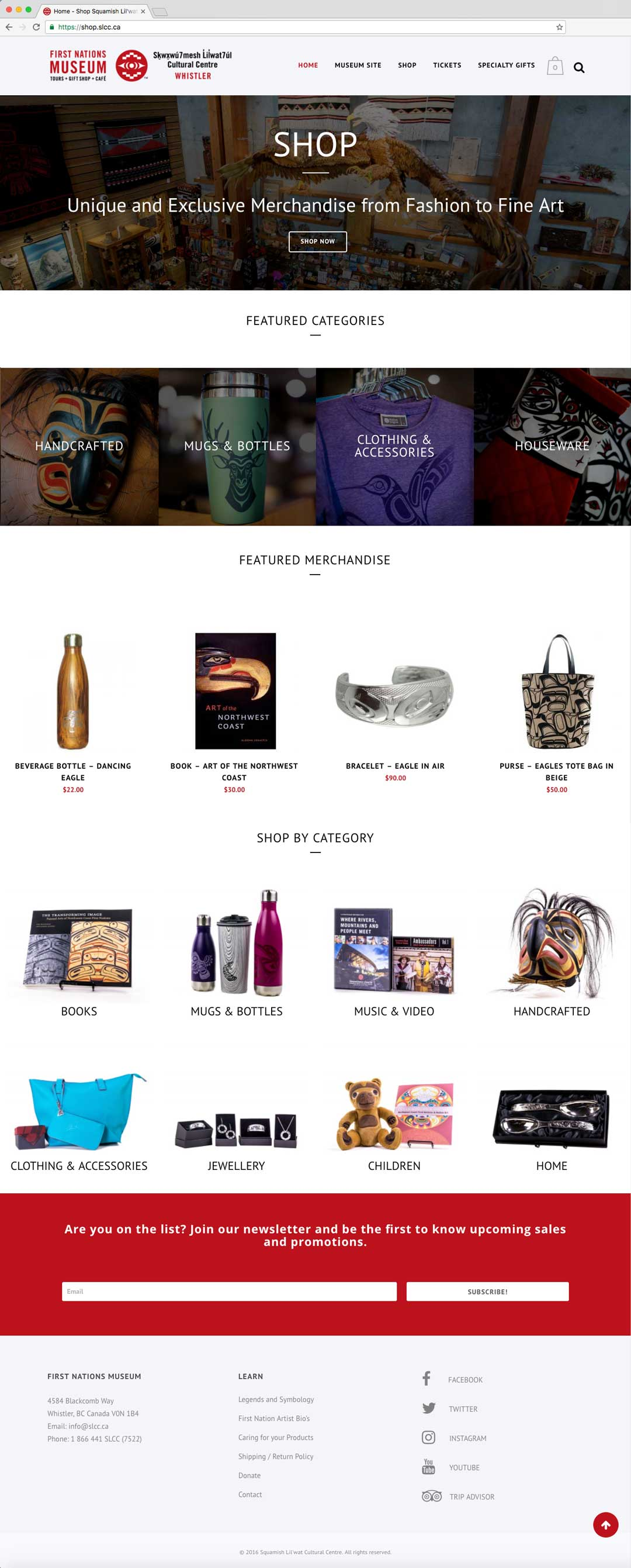 SLCC Home Shop Page, Designed by Tech-Web Canada